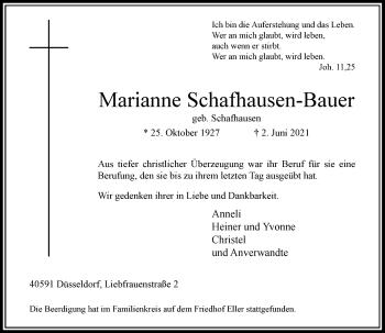 Traueranzeige von Marianne Schafhausen-Bauer von Rheinische Post
