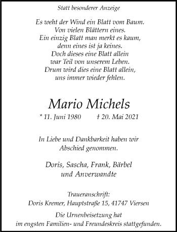 Traueranzeige von Mario Michels von Rheinische Post