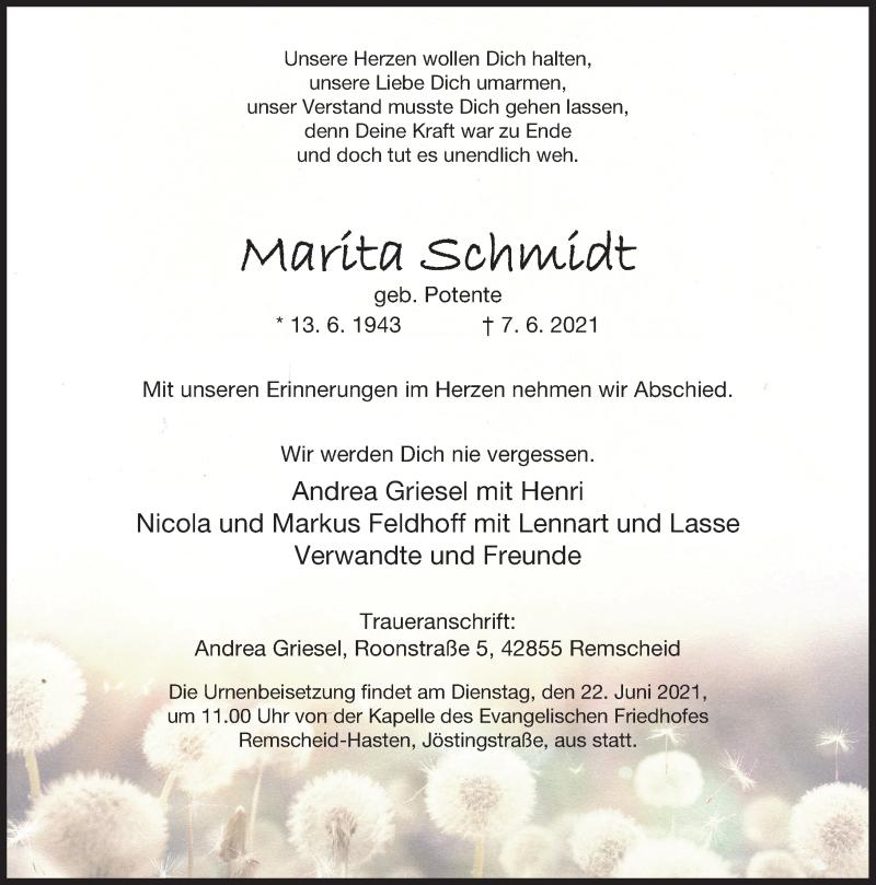 Traueranzeige für Marita Schmidt vom 16.06.2021 aus Rheinische Post