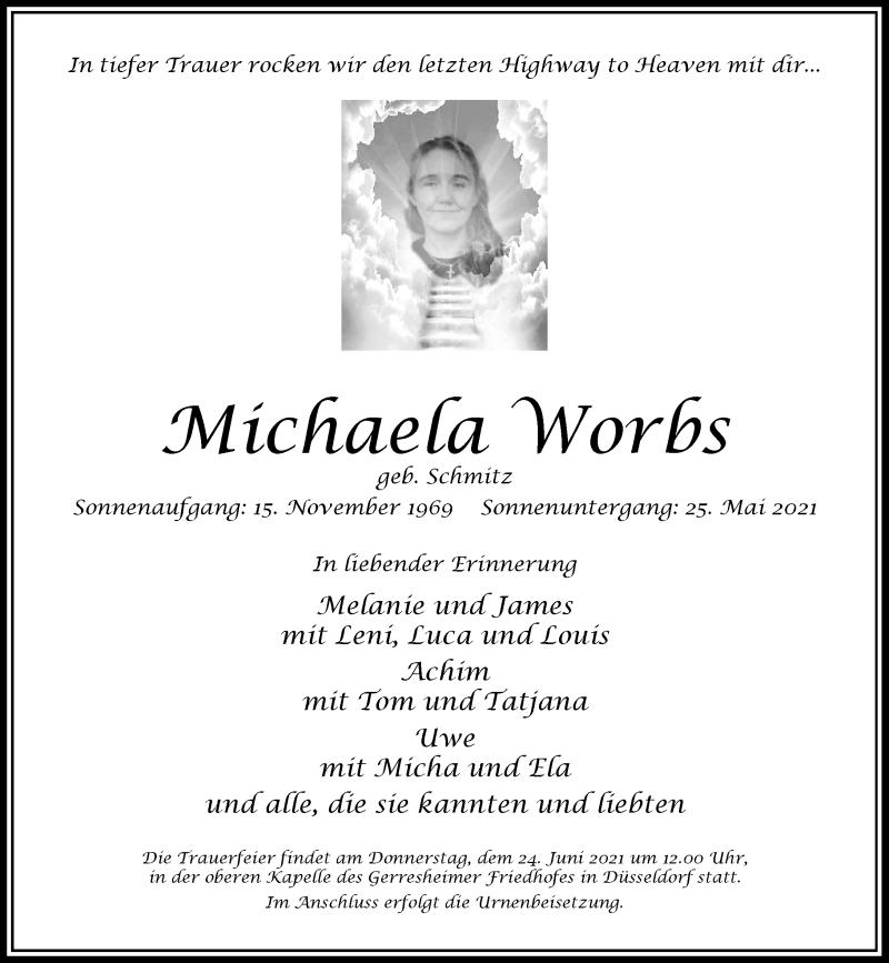 Traueranzeige für Michaela Worbs vom 19.06.2021 aus Rheinische Post
