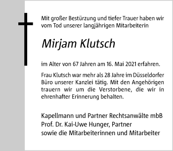 Traueranzeige von Mirjam Klutsch von Rheinische Post
