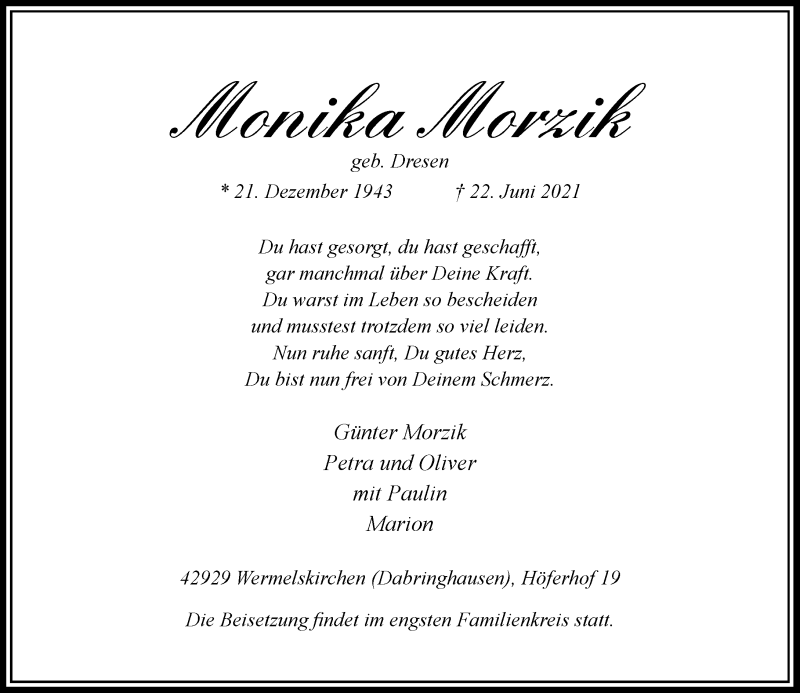 Traueranzeige für Monika Morzik vom 26.06.2021 aus Rheinische Post