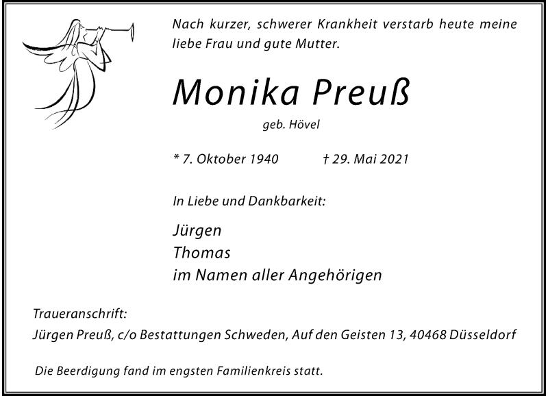 Traueranzeige für Monika Preuß vom 19.06.2021 aus Rheinische Post