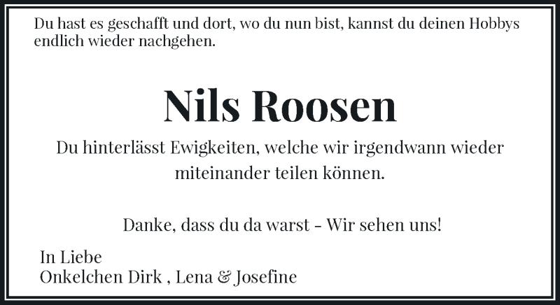 Traueranzeige für Nils Roosen vom 02.06.2021 aus Rheinische Post