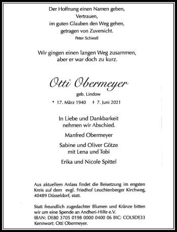 Traueranzeige von Otti Obermeyer von Rheinische Post