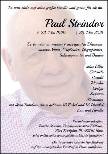 Traueranzeige von Paul Steindor von Rheinische Post