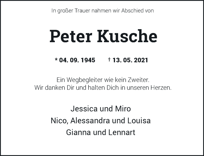 Traueranzeige für Peter Kusche vom 05.06.2021 aus Rheinische Post