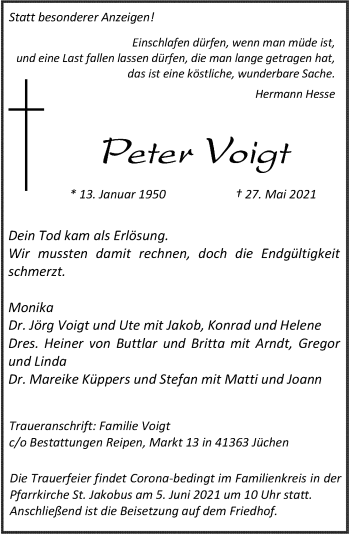 Traueranzeige von Peter Voigt von Rheinische Post
