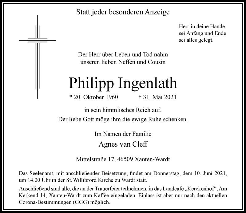 Traueranzeige für Philipp Ingenlath vom 08.06.2021 aus Rheinische Post