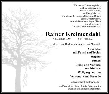 Traueranzeige von Rainer Kreimendahl von Rheinische Post