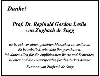 Traueranzeige von Reginald Gordon Leslie von Zugbach de Sugg von Rheinische Post