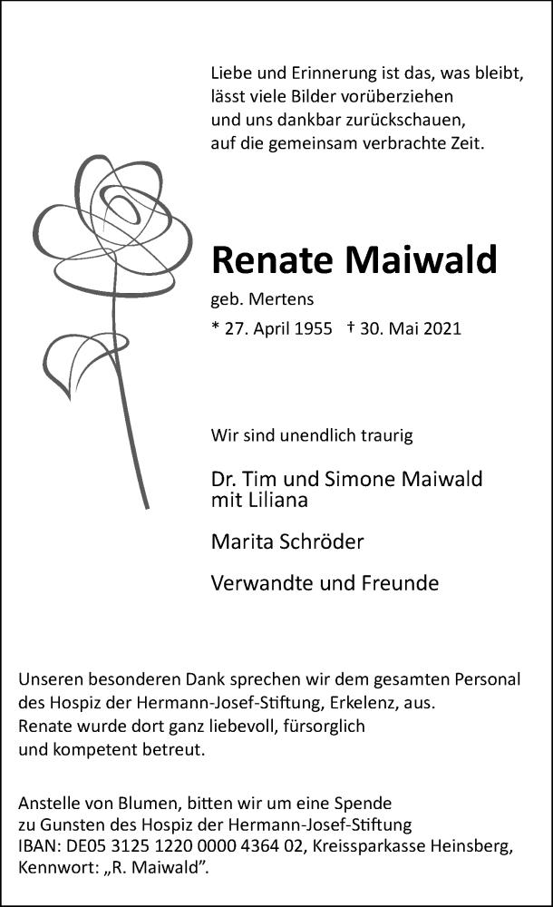 Traueranzeige für Renate Maiwald vom 05.06.2021 aus Rheinische Post