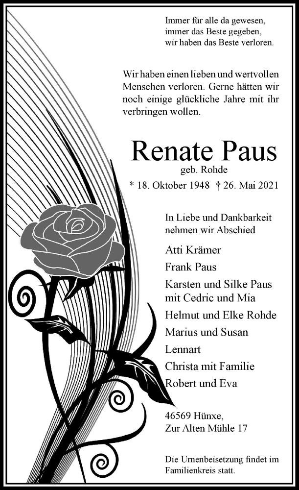 Traueranzeige für Renate Paus vom 05.06.2021 aus Rheinische Post