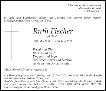 Traueranzeige von Ruth Fischer von Rheinische Post