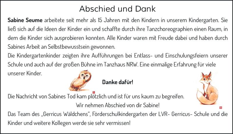 Traueranzeige für Sabine Seume vom 12.06.2021 aus Rheinische Post