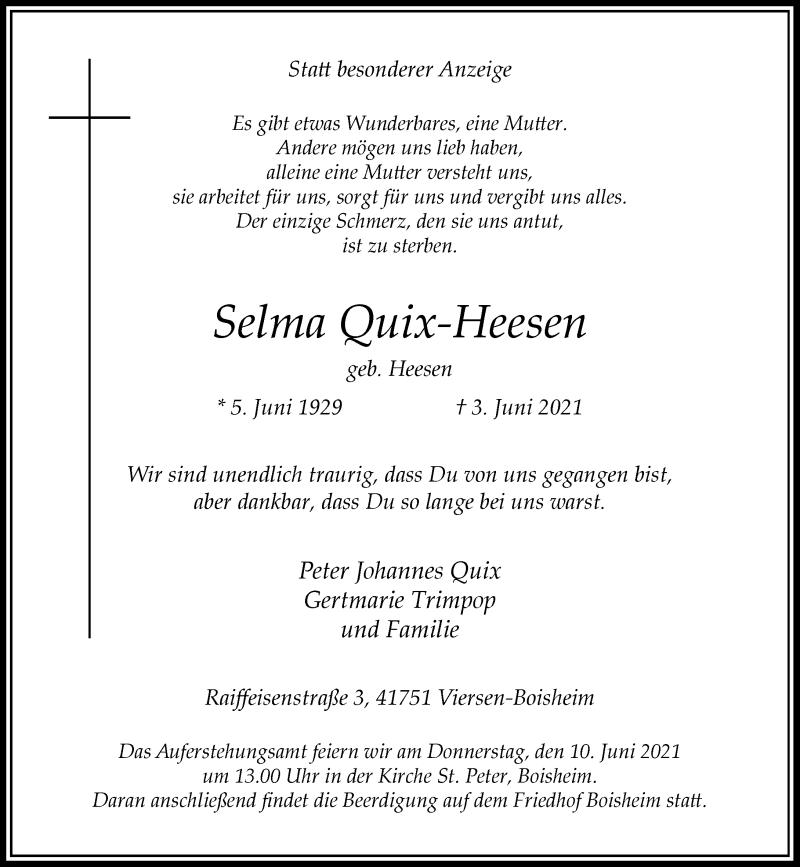 Traueranzeige für Selma Quix-Heesen vom 08.06.2021 aus Rheinische Post