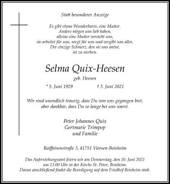 Traueranzeige von Selma Quix-Heesen von Rheinische Post