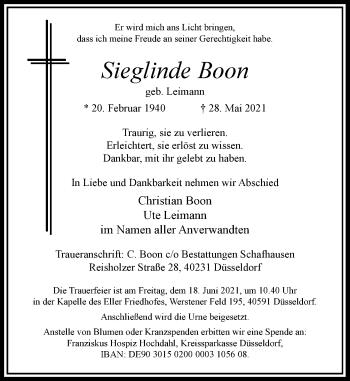 Traueranzeige von Sieglinde Boon von Rheinische Post