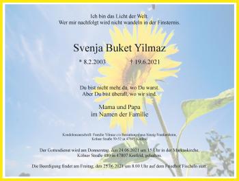 Traueranzeige von Svenja Buket Yilmaz von Rheinische Post
