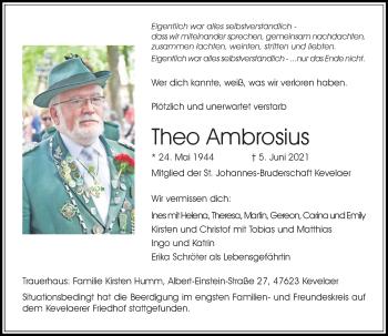 Traueranzeige von Theo Ambrosius von Rheinische Post