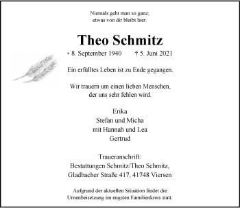 Traueranzeige von Theo Schmitz von Rheinische Post