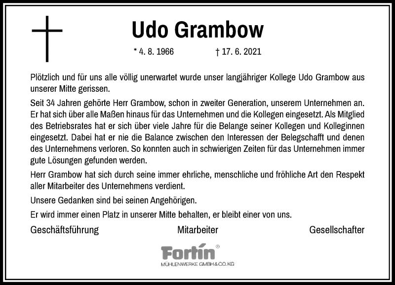 Traueranzeige für Udo Grambow vom 19.06.2021 aus Rheinische Post