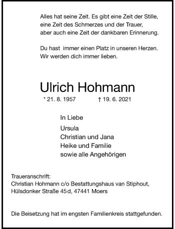 Traueranzeige von Ulrich Hohmann von Rheinische Post