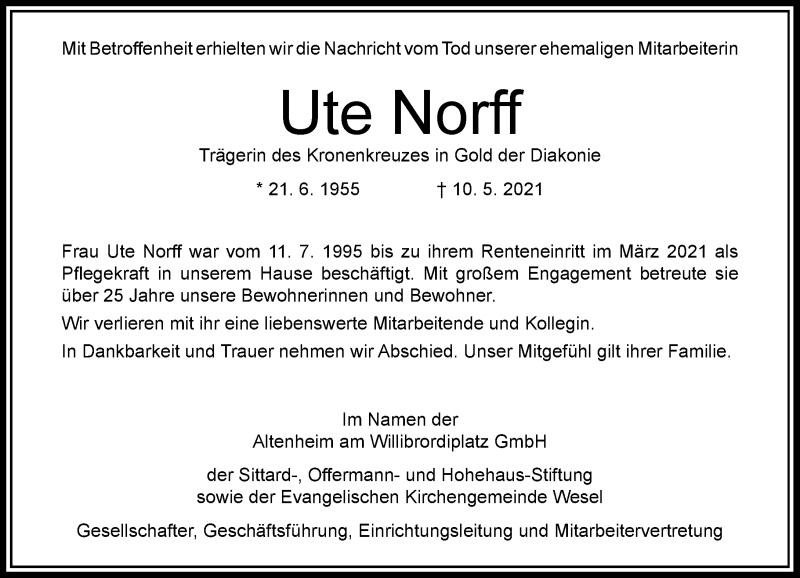 Traueranzeige für Ute Norff vom 05.06.2021 aus Rheinische Post