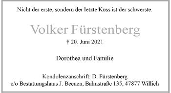Traueranzeige von Volker Fürstenberg von Rheinische Post