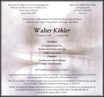 Traueranzeige von Walter Köhler von Rheinische Post