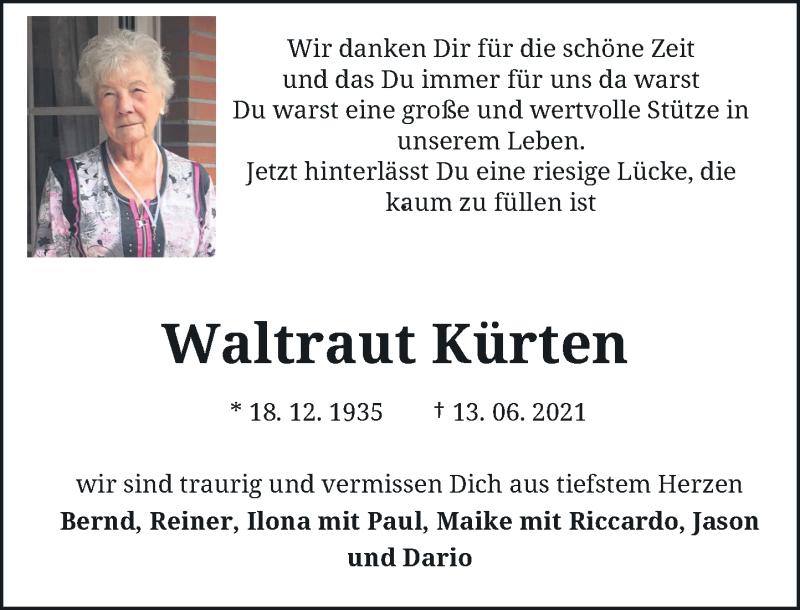 Traueranzeige für Waltraut Kürten vom 19.06.2021 aus Rheinische Post