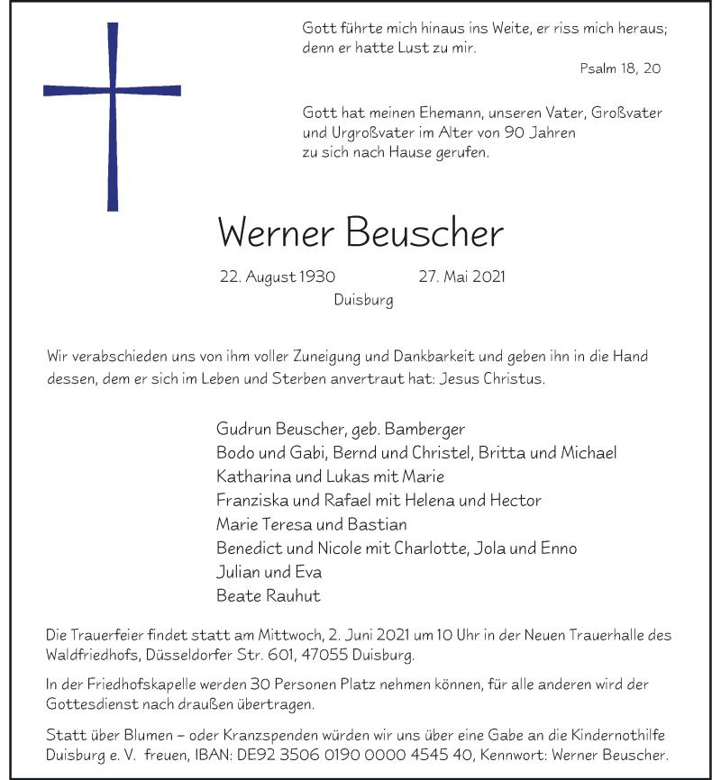 Traueranzeige für Werner Beuscher vom 01.06.2021 aus Rheinische Post