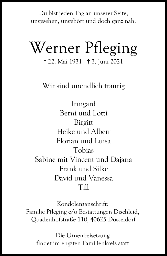Traueranzeige für Werner Pfleging vom 19.06.2021 aus Rheinische Post