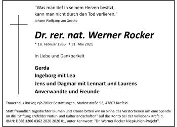 Traueranzeige von Werner Rocker von Rheinische Post