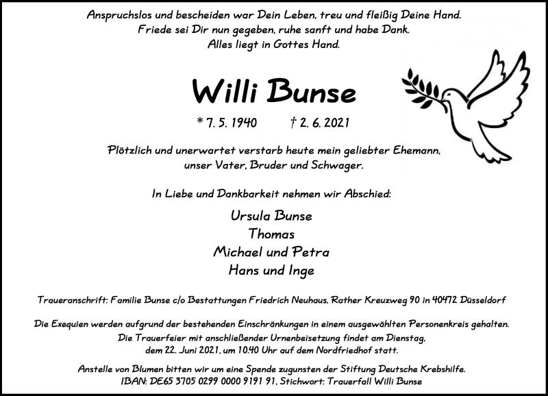Traueranzeige für Willi Bunse vom 19.06.2021 aus Rheinische Post