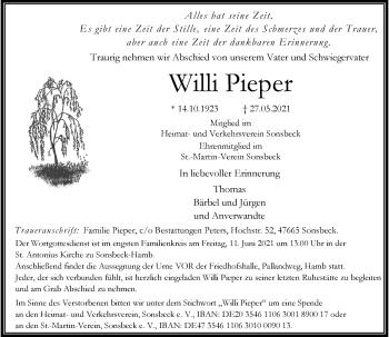 Traueranzeige von Willi Pieper von Rheinische Post