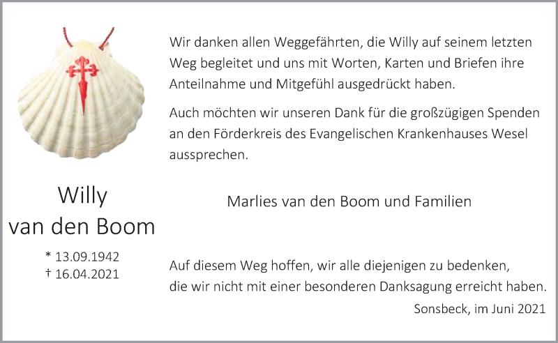 Traueranzeige für Willy van den Boom vom 26.06.2021 aus Rheinische Post