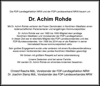 Traueranzeige von Achim Rohde von Rheinische Post