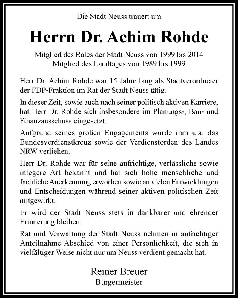 Traueranzeige für Achim Rohde vom 17.07.2021 aus Rheinische Post