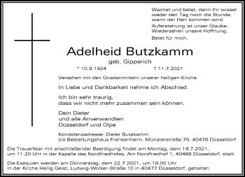 Traueranzeige von Adelheid Butzkamm von Rheinische Post