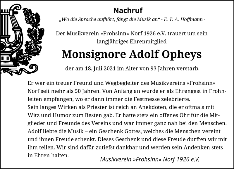 Traueranzeige für Adolf Opheys vom 24.07.2021 aus Rheinische Post