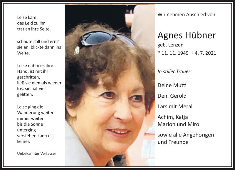 Traueranzeige für Agnes Hübner vom 15.07.2021 aus Rheinische Post