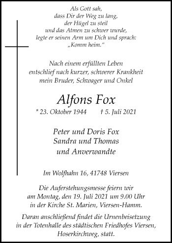 Traueranzeige von Alfons Fox von Rheinische Post