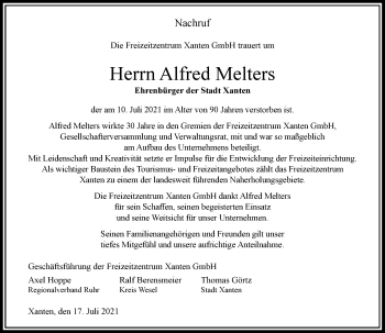 Traueranzeige von Alfred Melters von Rheinische Post