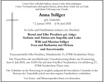 Traueranzeige von Anna Stillger von Rheinische Post