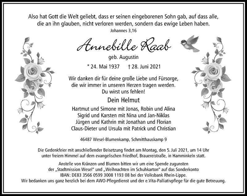 Traueranzeige für Annebille Raab vom 02.07.2021 aus Rheinische Post