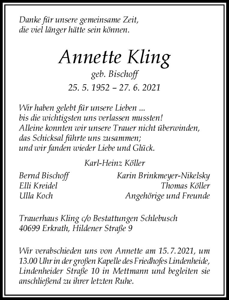 Traueranzeige für Annette Kling vom 10.07.2021 aus Rheinische Post