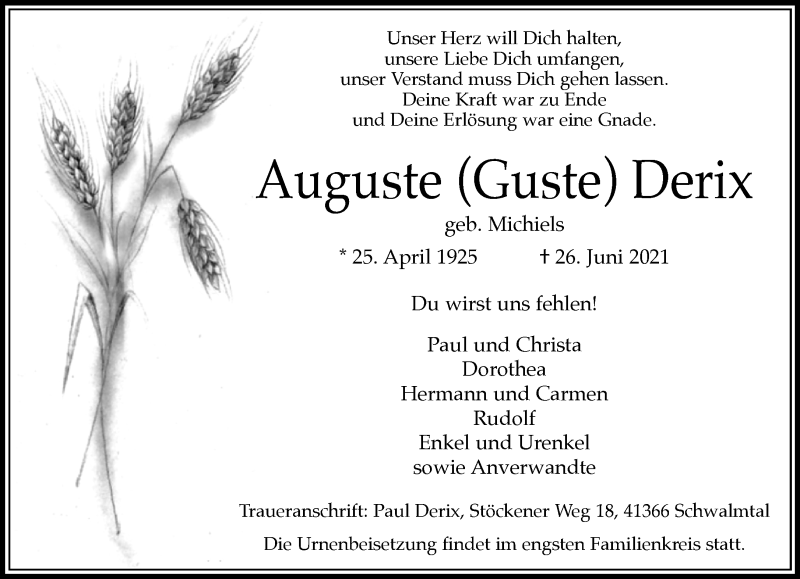 Traueranzeige für Auguste Auguste vom 03.07.2021 aus Rheinische Post