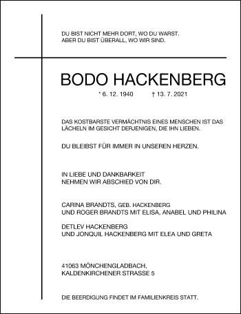 Traueranzeige von Bodo Hackenberg von Rheinische Post