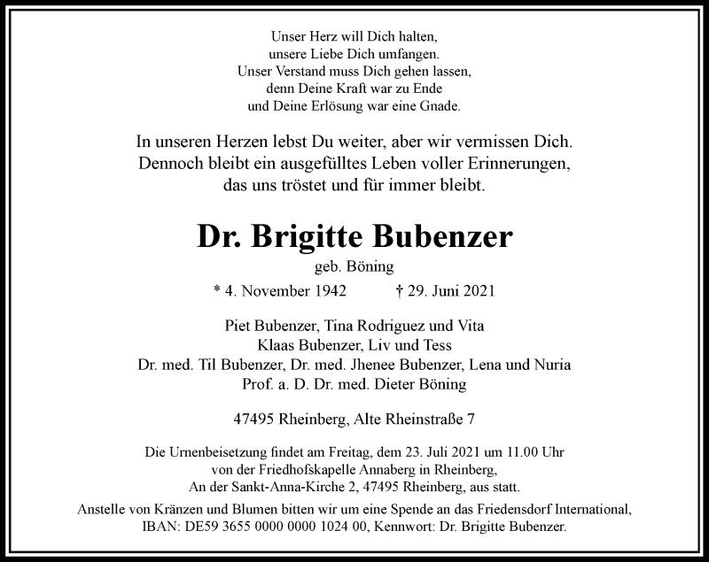 Traueranzeige für Brigitte Bubenzer vom 17.07.2021 aus Rheinische Post